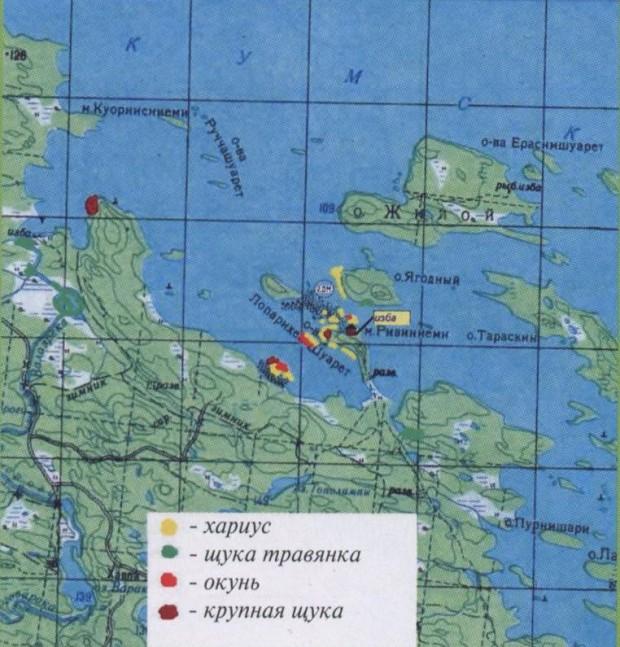 карта карелии с рыболовными базами
