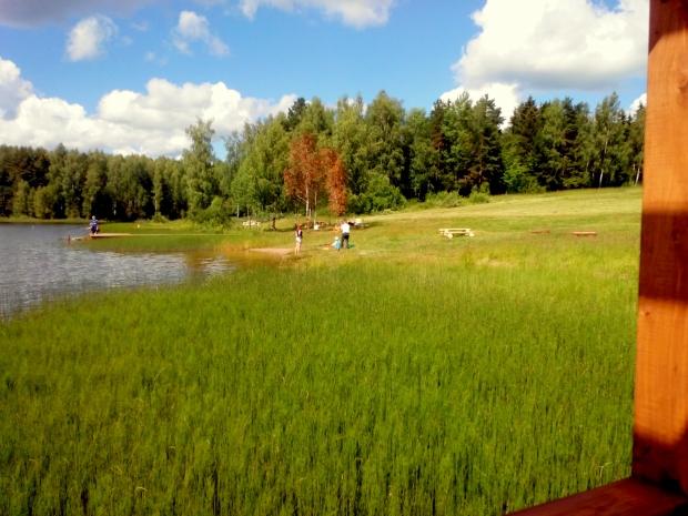 вид на озеро, место для купания, вид на столики для пикника